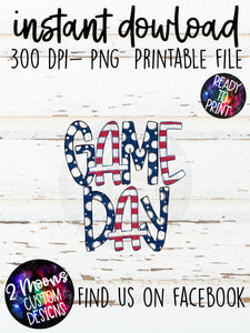 Navy & Red Game Day Design- Handlettered- Doodle Design