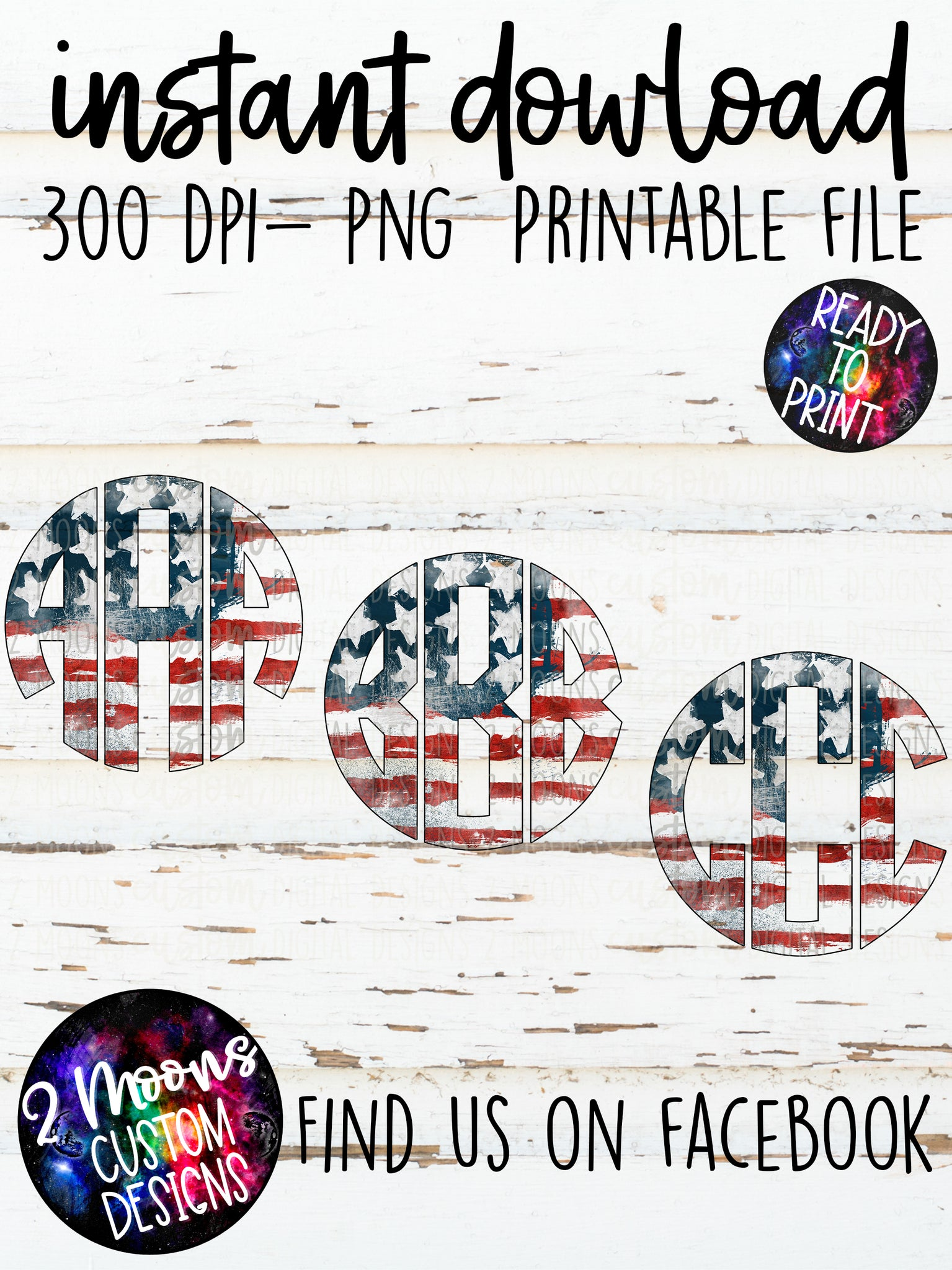 Patriotic Monogram- Entire Alphabet- Instant Download