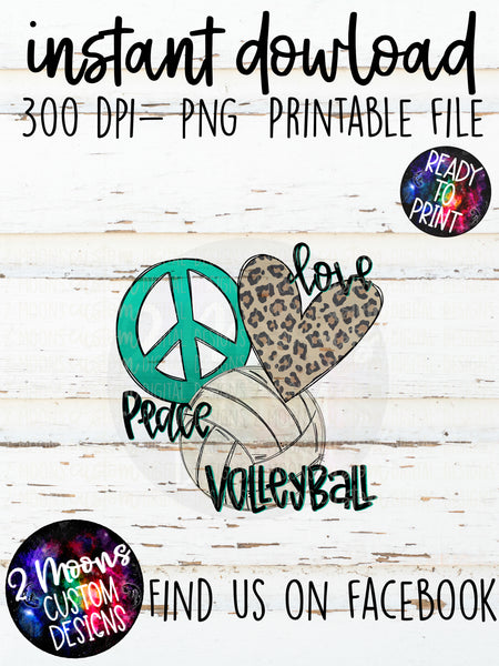 Peace Love Volleyball- Doodle Design