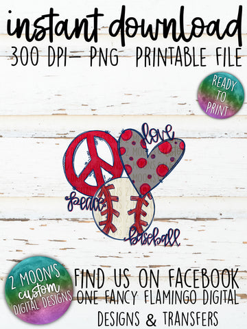 Peace Love Baseball- Doodle Design-Hand Lettered- Baseball Design