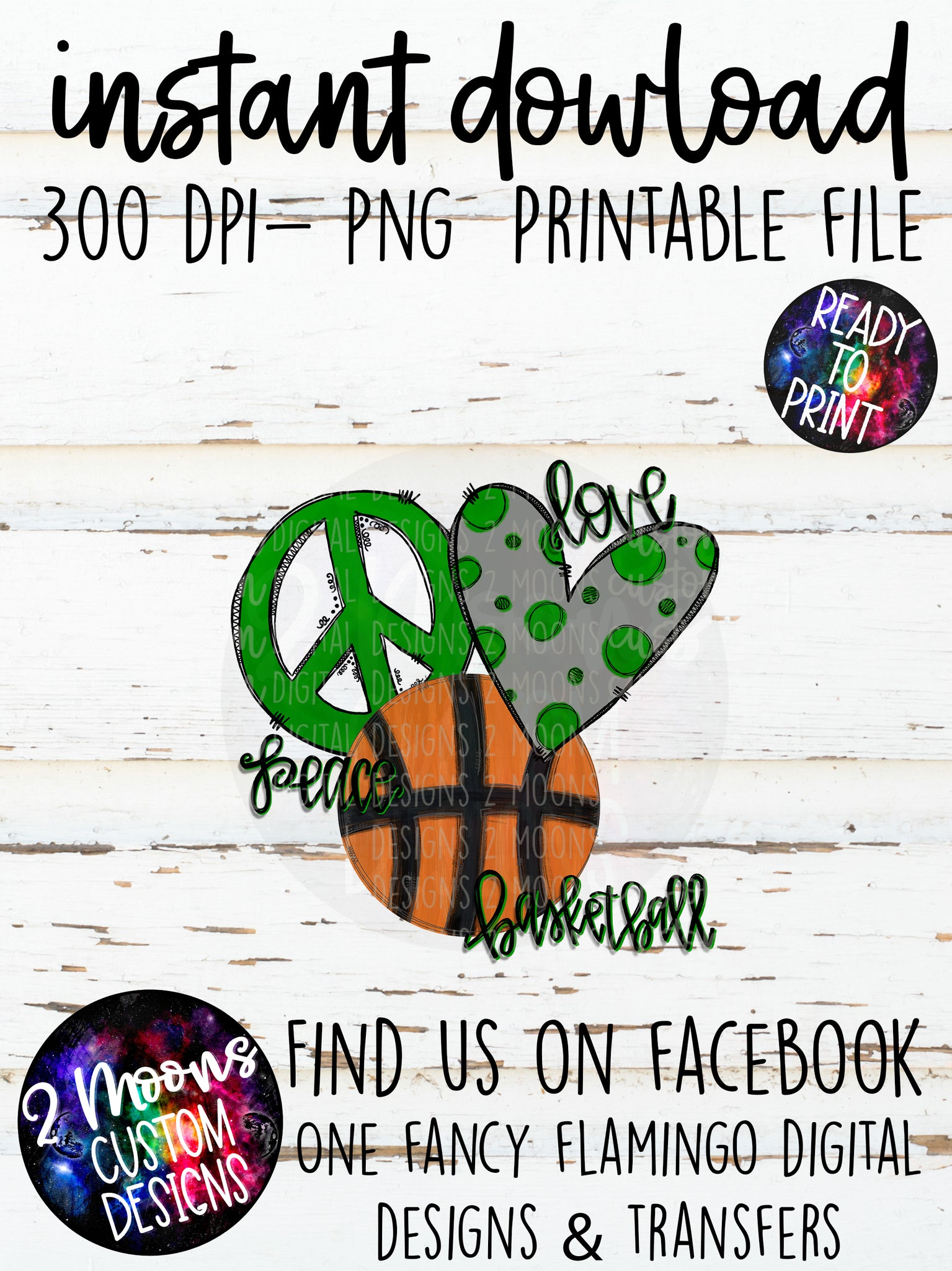 Peace Love Basketball- Green - Doodle Design- Hand Lettered