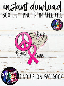 Peace Love Cure- Breast Cancer- Volleyball