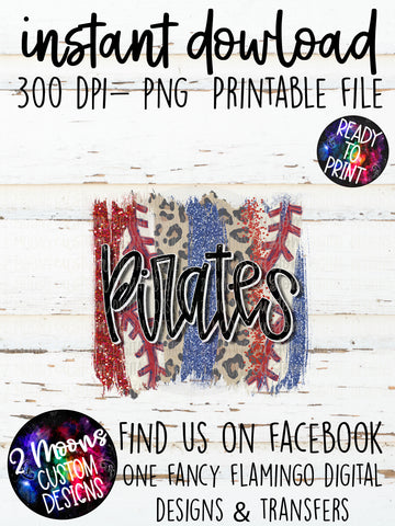 Pirates- Baseball Brushstroke- Hand Lettered