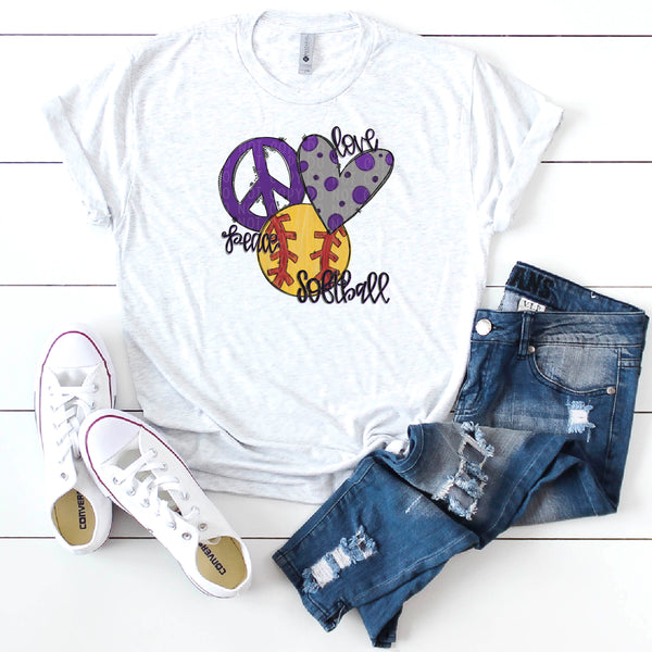 Peace Love Softball- Purple- Doodle Design-Hand Lettered- Softball Design