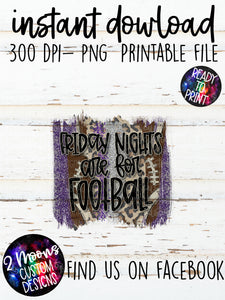 Friday Nights are for Football- Purple & Gray- Football Brushstroke Design
