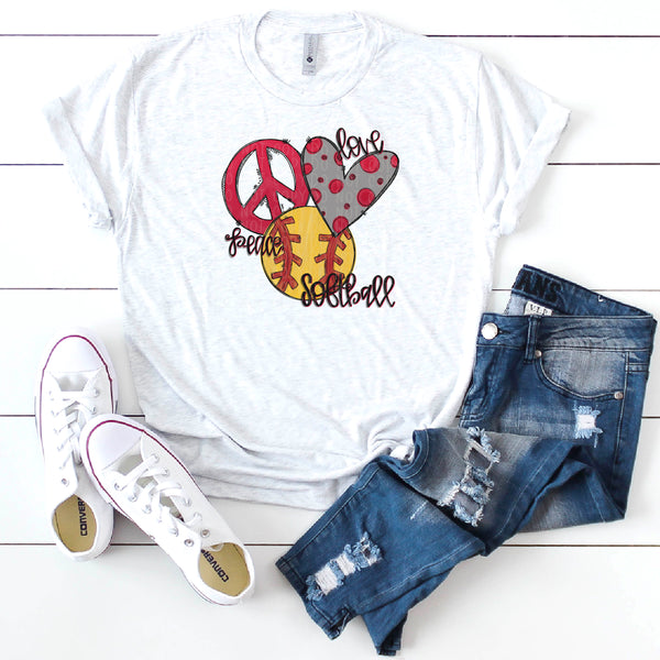 Peace Love Softball- Bundle- Doodle Design-Hand Lettered- Softball Design
