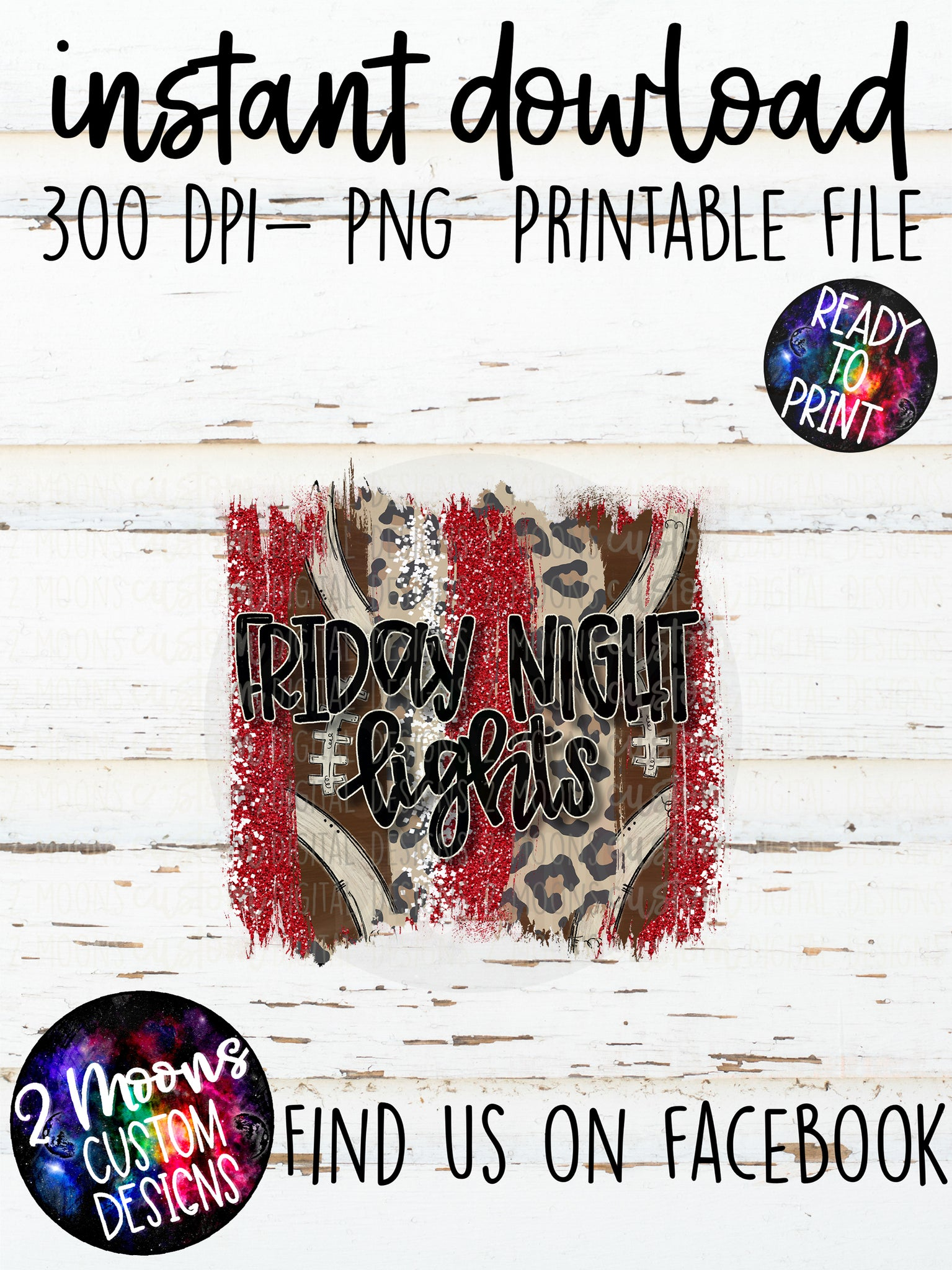 Friday Night Lights- Red & White- Football Brushstroke Design
