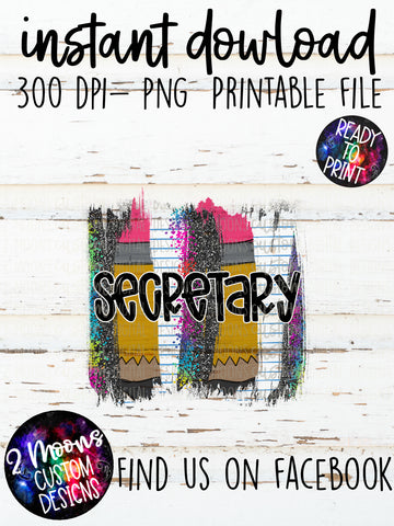 Secretary- teacher design- Back to School Brushstroke