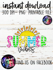 Summer Vibes with Sun- Doodle Design