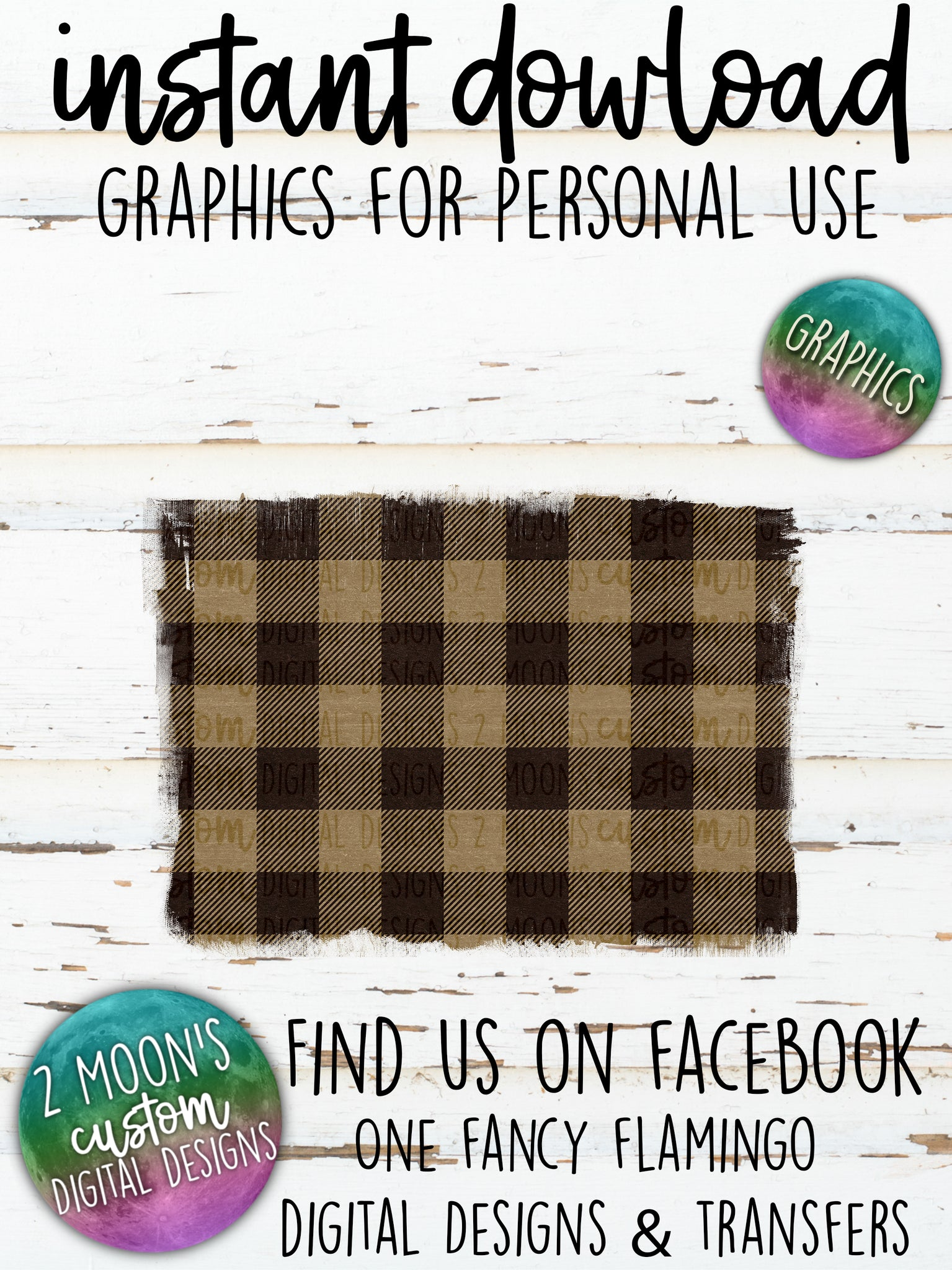 Tan Buffalo Plaid Backgrounds- Add your own text
