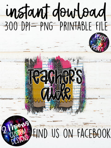 Teacher's Aide- teacher design- Back to School Brushstroke