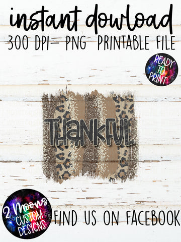 Thankful- Fall Design- Leopard Brushstroke