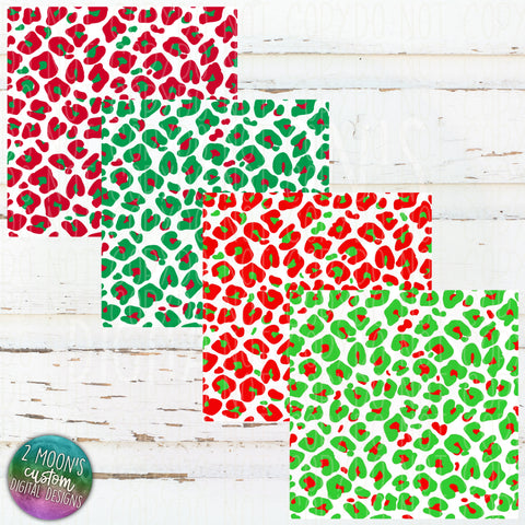 Christmas Leopard Paper- Bundle of 4