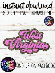 West Virginia- Camo + Pink Retro State