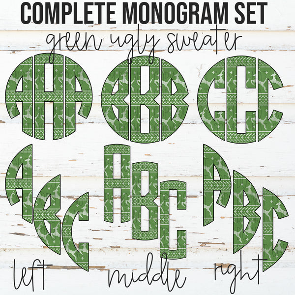 Green Ugly Sweater Monogram