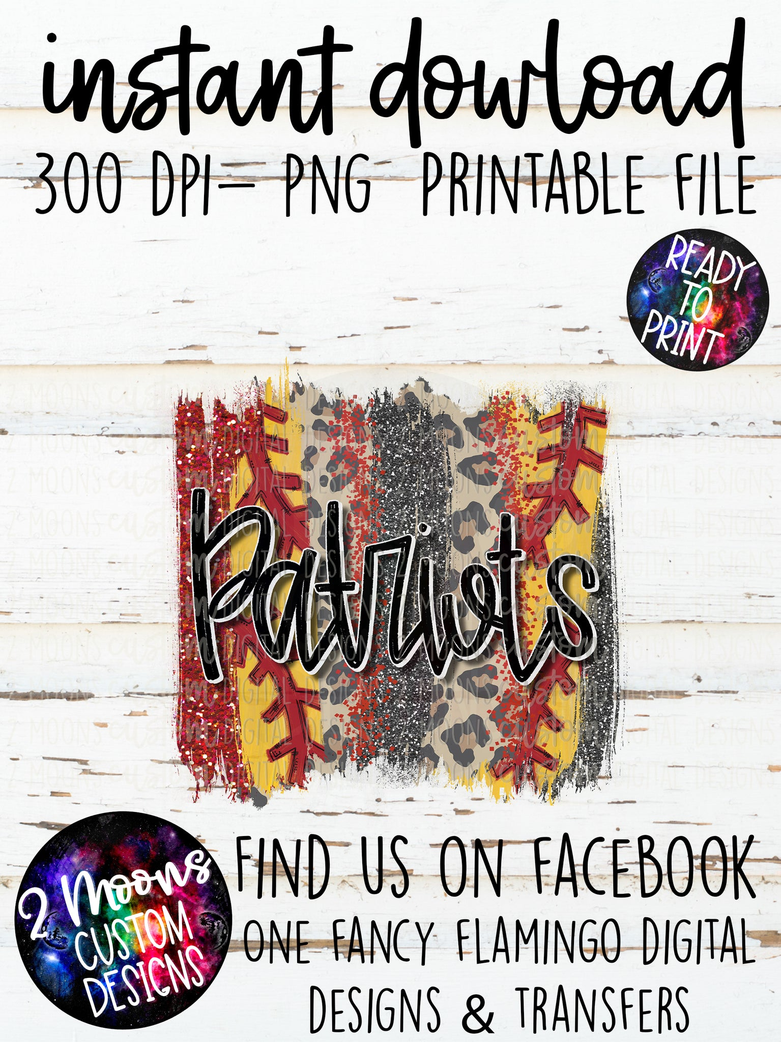 Patriots- Softball Brush Stroke Design- Hand Lettered