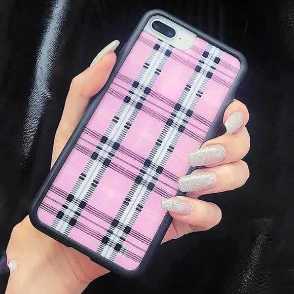 Pink Plaid Glass Case - Kalakaar Indiaa