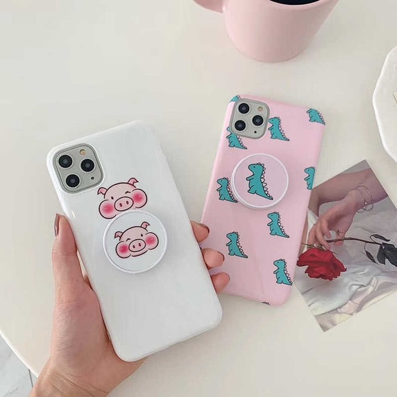 Piggy And Baby Dino Slim Case Cover With Holder - Kalakaar Indiaa