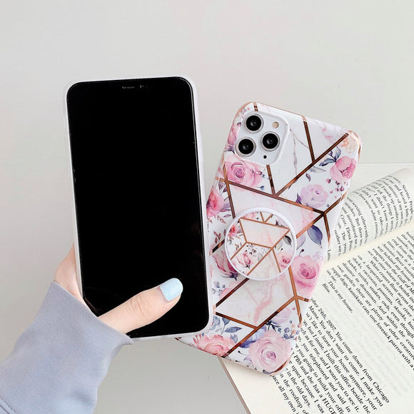 The Geometric Floral Slim Case Cover With Holder - Kalakaar Indiaa