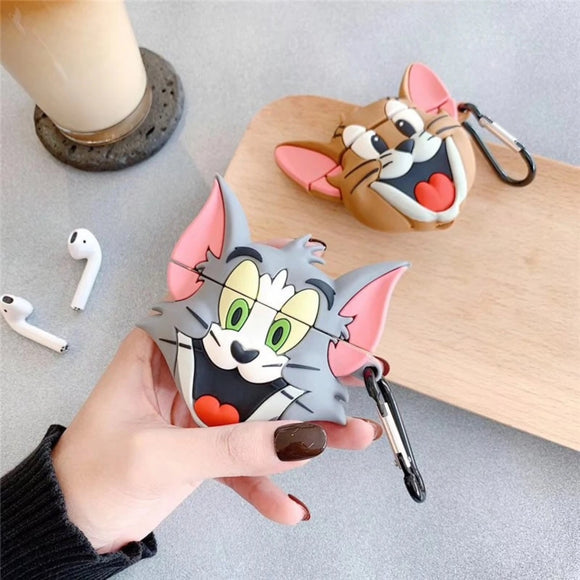Cute Tom And Jerry Apple Airpods Case For AirPods Series 1/2 - Kalakaar Indiaa
