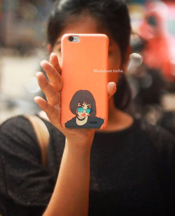 Orange Boho Girl Slim Case Cover - Kalakaar Indiaa