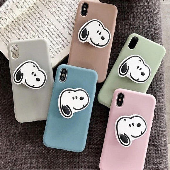 The Pastel Color Slim Case Cover With Dog Holder - Kalakaar Indiaa
