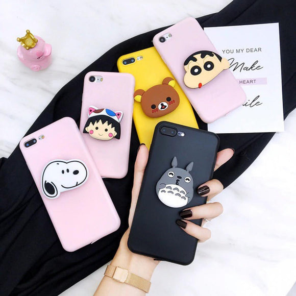 The Candy Color Slim Case Cover With Cartoon Holder - Kalakaar Indiaa
