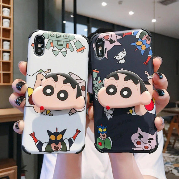 The White And Black Shinchan Slim Case Cover With Holder - Kalakaar Indiaa