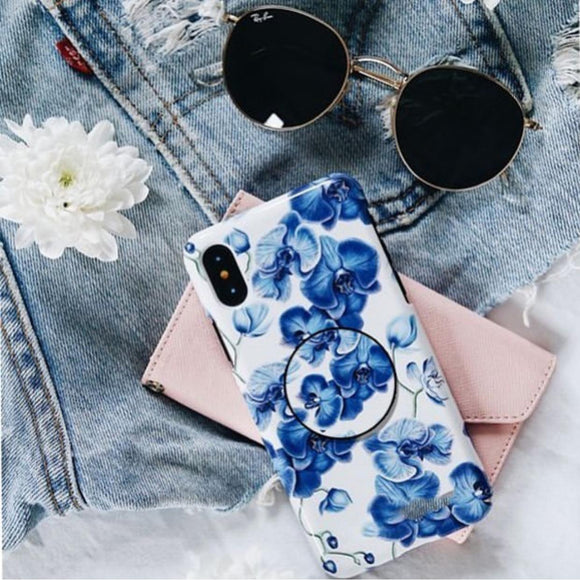 The Blue Floral Slim Case Cover With Holder - Kalakaar Indiaa