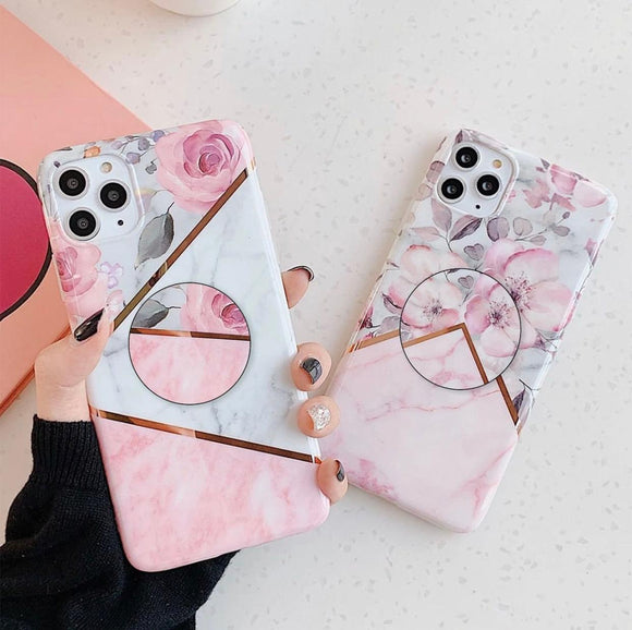Pink Marble And Floral Slim Case Cover With Holder - Kalakaar Indiaa