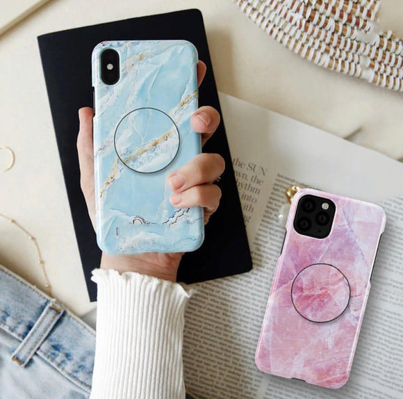 The Pink And Blue Marble Slim Case Cover With Holder - Kalakaar Indiaa