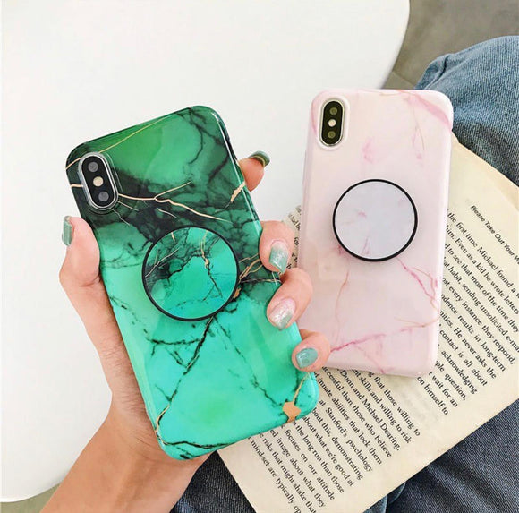 Green Marble And Pink Marble Slim Case Cover With Holder - Kalakaar Indiaa