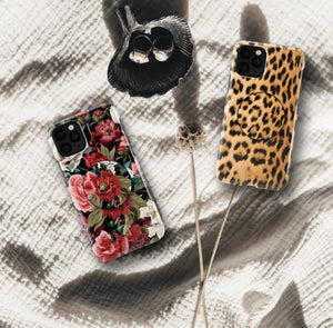 The Floral And Leopard Print Slim Case Cover With Holder - Kalakaar Indiaa