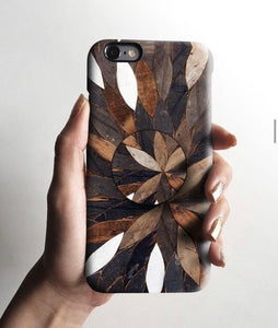 The Wooden Pattern Slim Case Cover With Holder - Kalakaar Indiaa