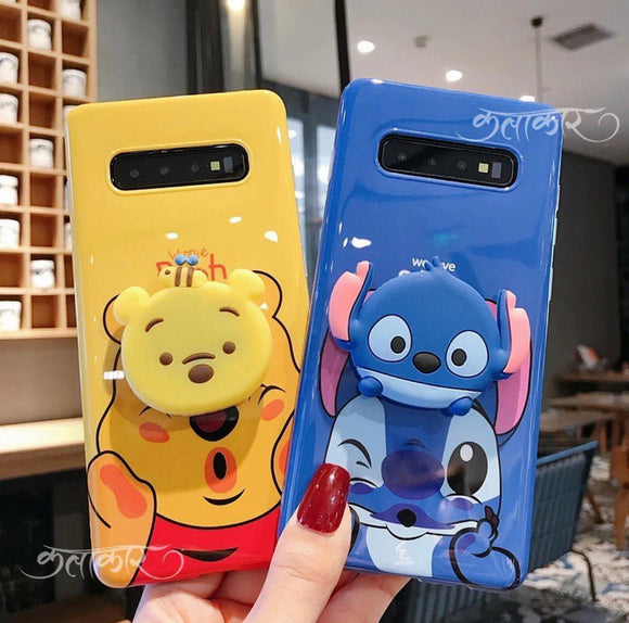 The Cartoons Pooh And Stitch Slim Case Cover With Holders - Kalakaar Indiaa