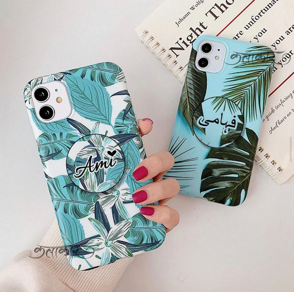 The Floral Duo Slim Case Cover With Custom Holder - Kalakaar Indiaa