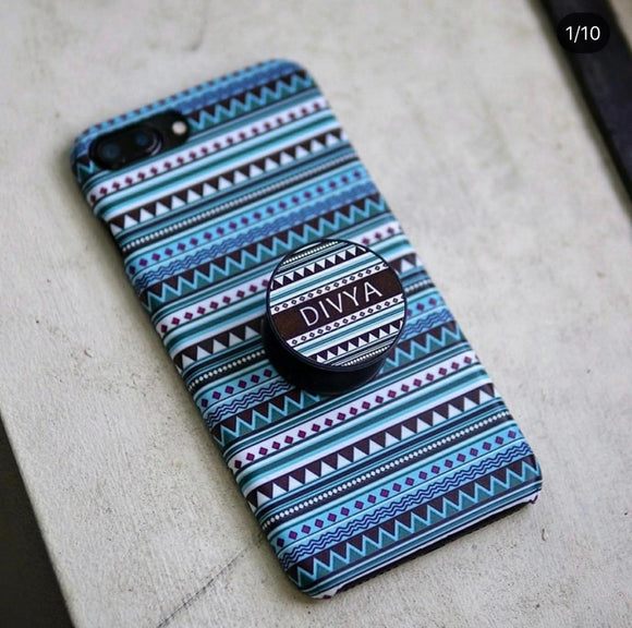 The Blue Aztec Slim Case Cover With Custom Name Holder - Kalakaar Indiaa