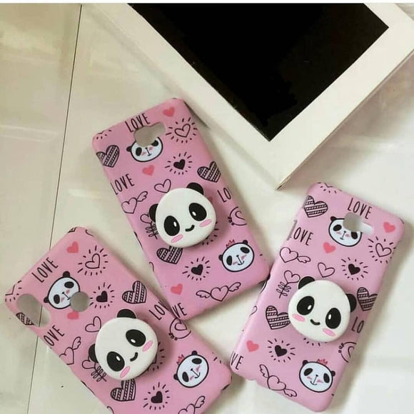 Pink Panda Slim Case Cover With Panda Holder - Kalakaar Indiaa