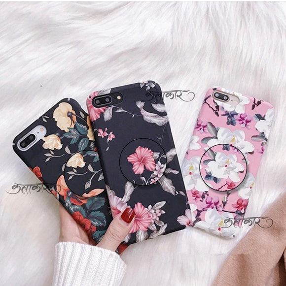 The Floral Threesome Slim Case Cover With Holder - Kalakaar Indiaa