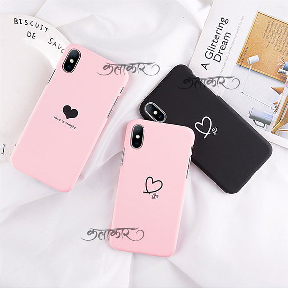 Cute Korean Heart Slim Case Cover - Kalakaar Indiaa