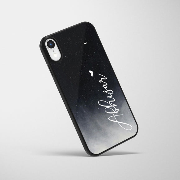 Black Moon Custom Name Glass Case - Kalakaar Indiaa