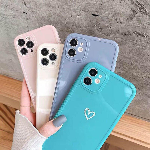 Shockproof Pastel Heart Design Phone Case With Camera Protection for iPhone
