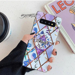 The Purple Floral Slim Case Cover With Customised Holder - Kalakaar Indiaa