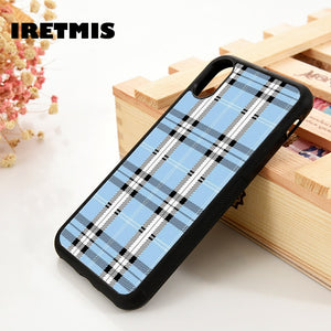 Blue Checks Glass Case Cover - Kalakaar Indiaa