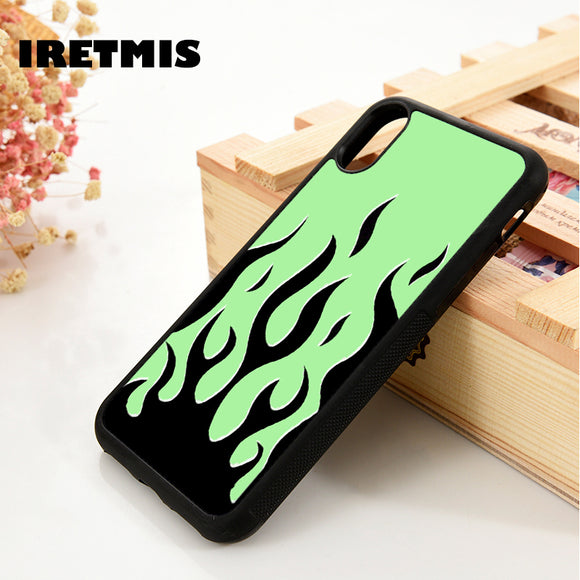 Green Flames Glass Case Cover - Kalakaar Indiaa