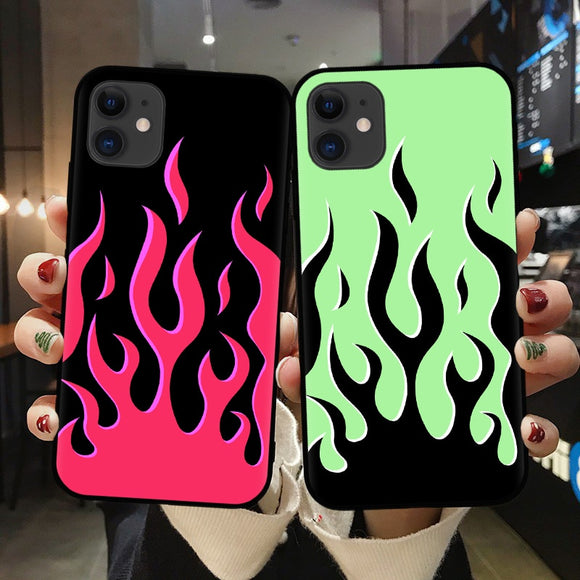 Multicolor Flames Glass Case - Kalakaar Indiaa