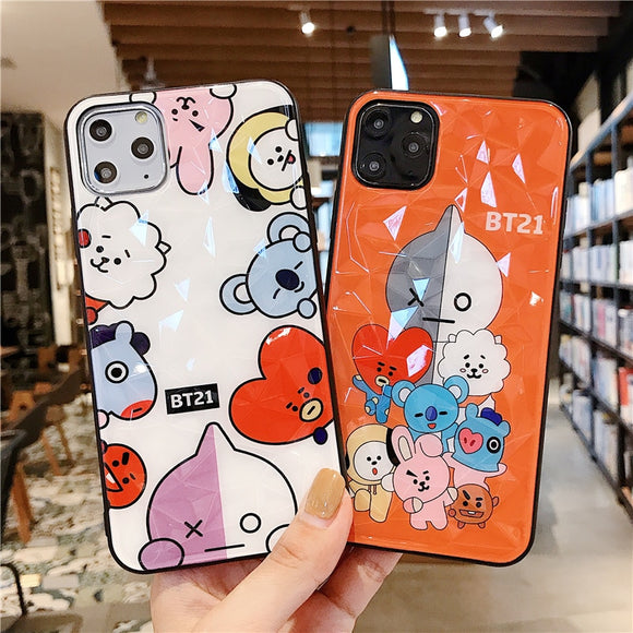 Luxury BT21 Glass Case - Kalakaar Indiaa