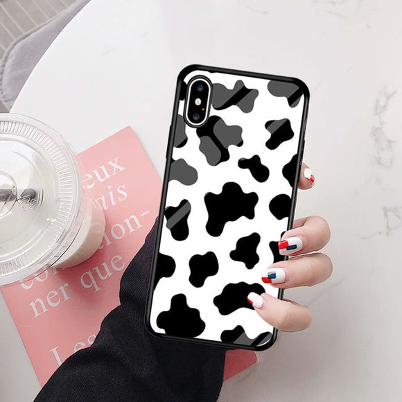 Moo Moo Pattern Glass Case Cover - Kalakaar Indiaa