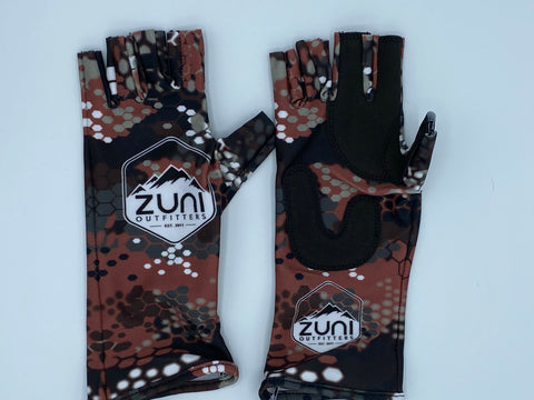 Red Modern Camo Fishing Gloves