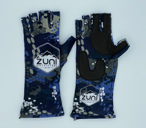Blue Modern Camo Fishing Gloves